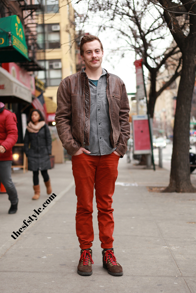 orange pants, leather jacket, man morsel monday, new york streetstyle fashion blog,
