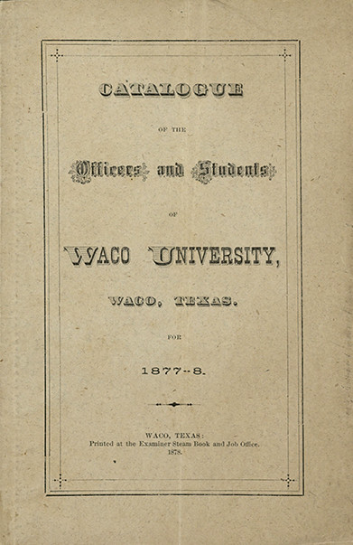 Waco University catalogue, 1877-1878