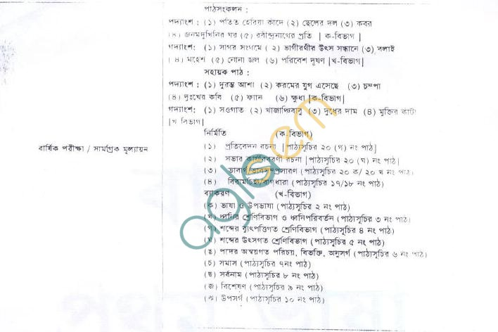 WB Board Syllabus for Madhyamik (Class 10) - Bengali
