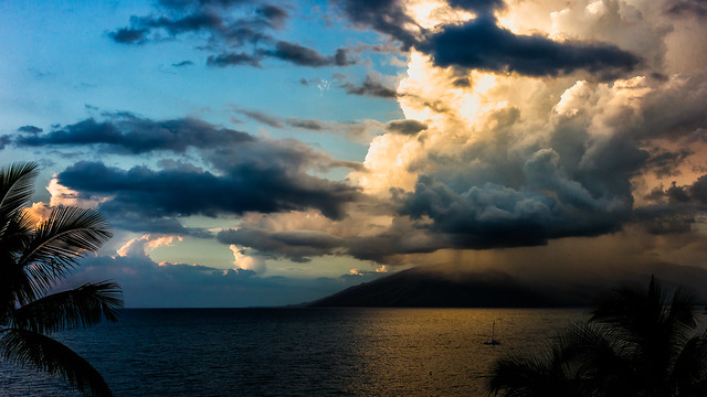 Rain Showers over West Maui Mountains