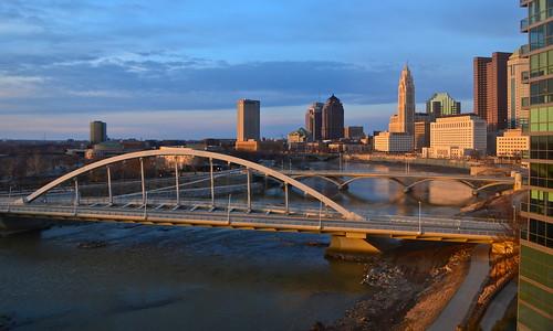 street city bridge light columbus sunset ohio urban skyline river evening downtown room main ivory scioto miranova