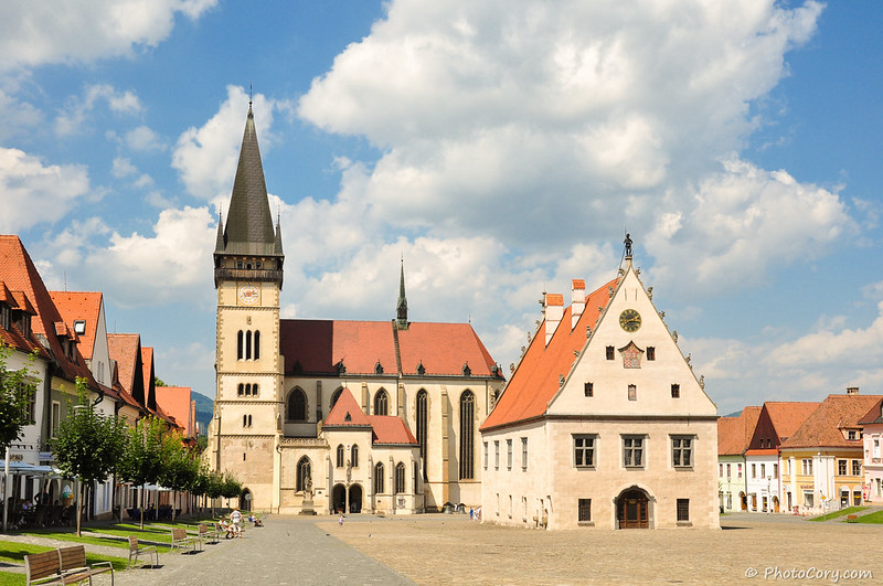 The town hall and the Church of St Aegidius in Bardejov, Slovakia