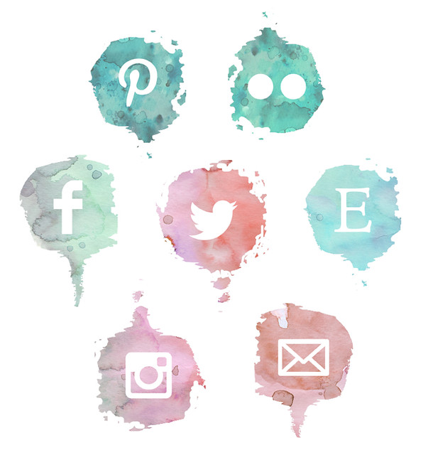 social media watercolor buttons
