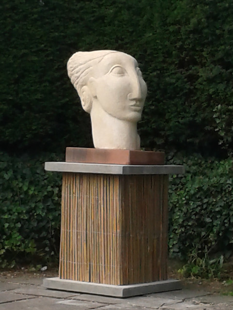 Hand carved Clipsham stone head sculpture