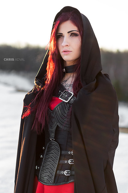 Red Dress Dark Fashion Shoot