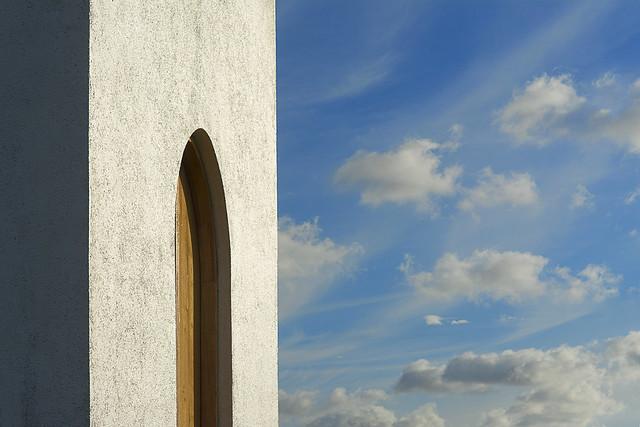 Door and clouds