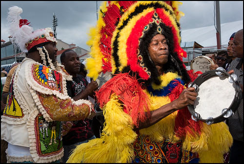 Big Chief Kevin parading with Black Foot Hunters during Jazz Fest day 1 on April 28, 2017. Photo by Ryan Hodgson-Rigsbee www.rhrphoto.com