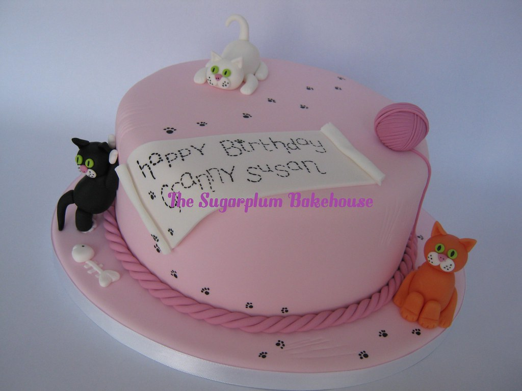 Cat Themed Birthday Cake And Cupcakes