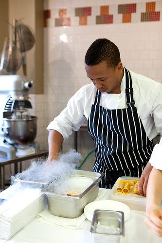 Matthew Livingston III of wd~50 freezing his mango roll in liquid nitrogen