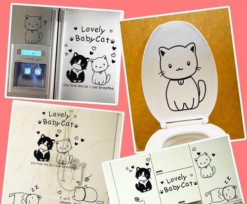 (卡通可爱小猫咪)墙贴纸客厅卧室电视背景墙楼梯儿童房室内墙贴画