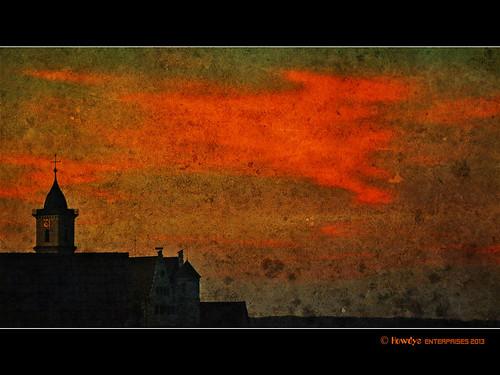 """orange rot deutschland grunge kirche himmel wolken schloss baden abendrot shabby kirchturm württemberg textur aulendorf """"amazingtexturedphotos"""" """"superamazingtexturedphotosaward"""""""