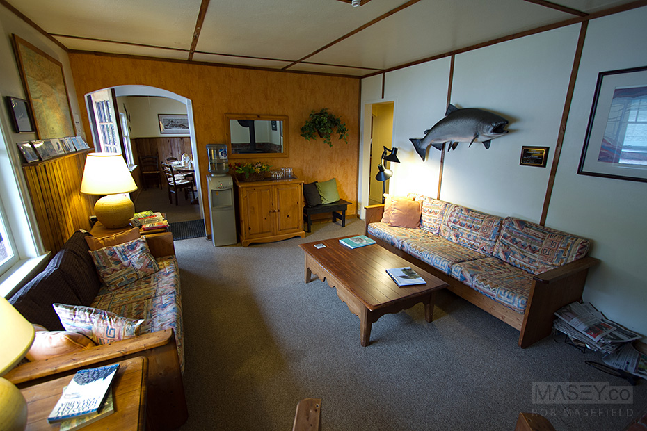 The comfy, homely interior of Sailcone Lodge.