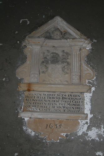 Jelle Tjercks Broersma 1634 Inscription in Allingawier Church