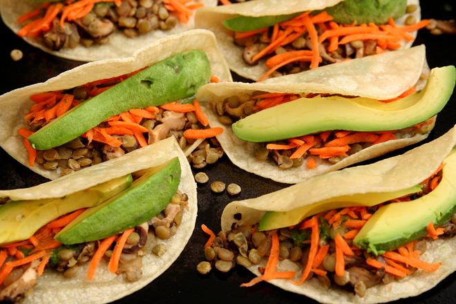 Shitake Mushroom and Lentil Asian Tacos (adapted from Sprouted Kitchen ...