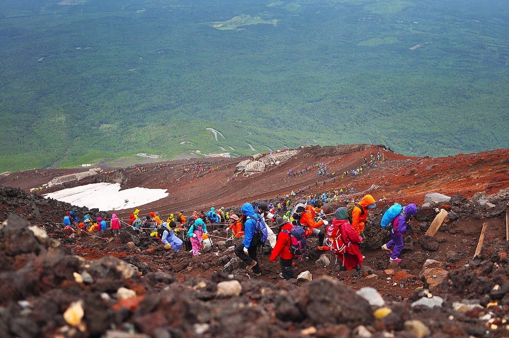 Colorful queue of climbers