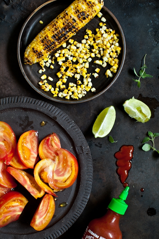 Tomato &Grilled Corn Salad With Sriracha Vinaigrette