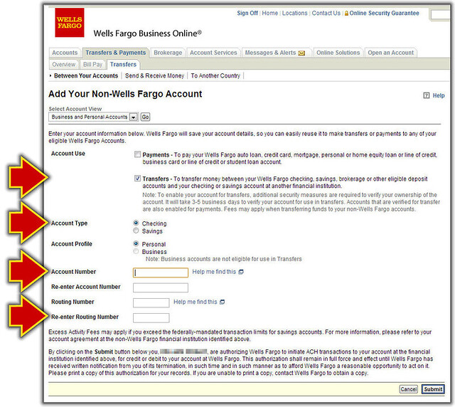fill in the non wells fargo account form - Add Money To Prepaid Card With Checking Account