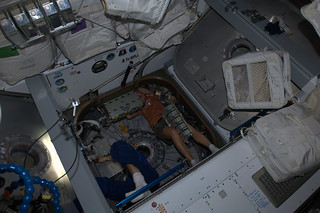 @astroKarenN and I working  on HTV4's hatch configuration for opening