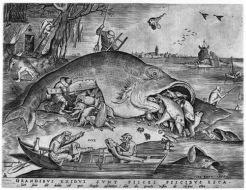 Big Fish Eat Little Fish by Pieter Bruegel the Elder, and Pieter van der Heyden. Etching.