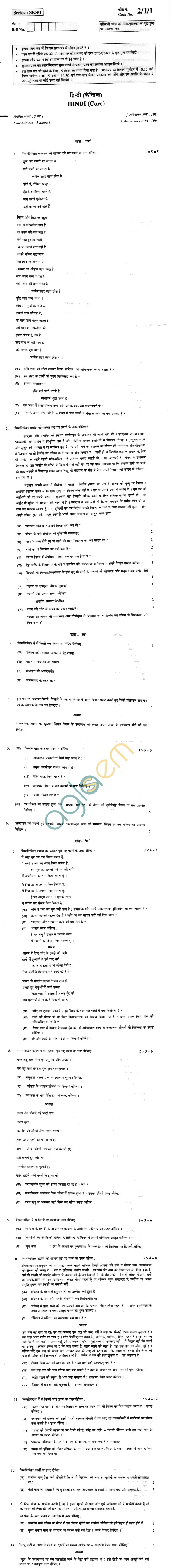 CBSE Board Exam 2013 Class XII Question Paper - Hindi (Core)