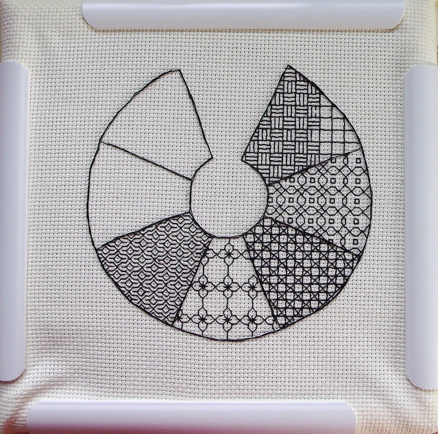 Blackwork Garden Path Sampler WIP
