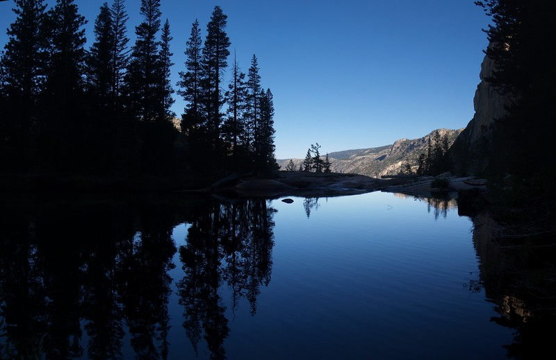 Morning reflections on the Tuolumne River (between California and LeConte Falls)