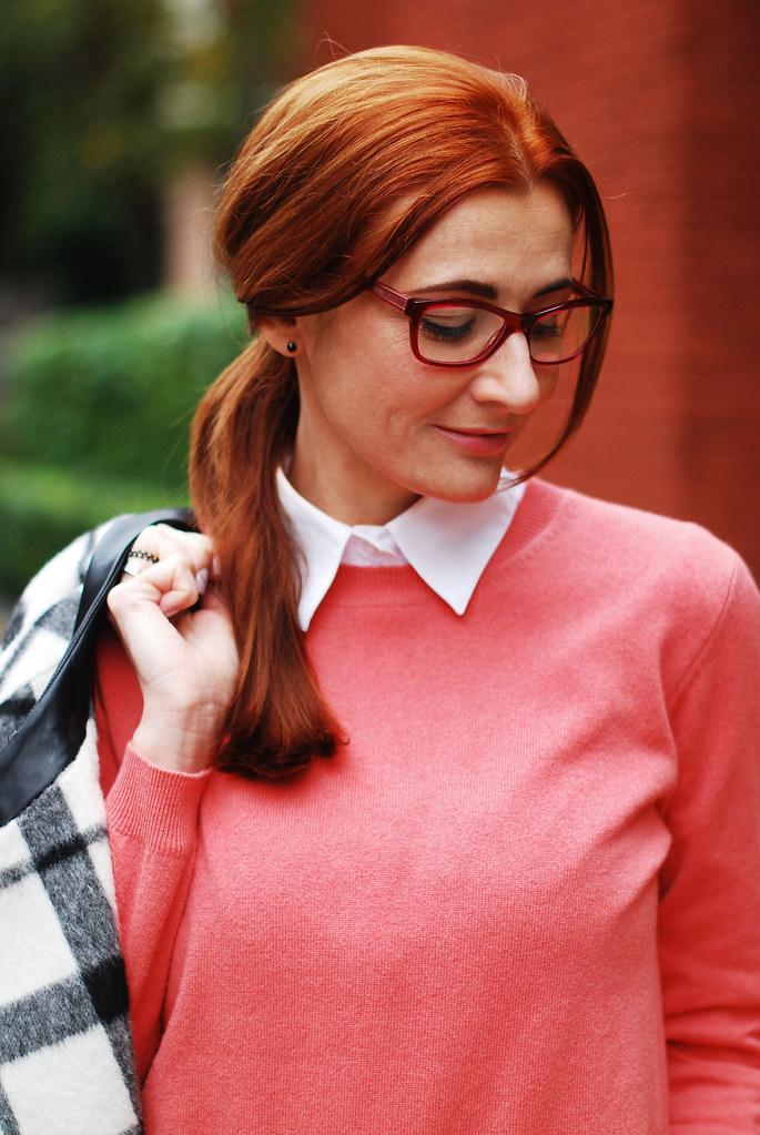 Black & white check coat, coral sweater