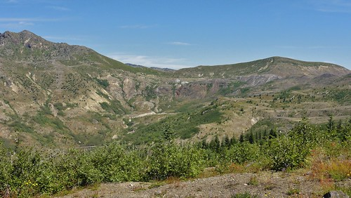 View of ridges and red waterfall from Johnston Ridge.