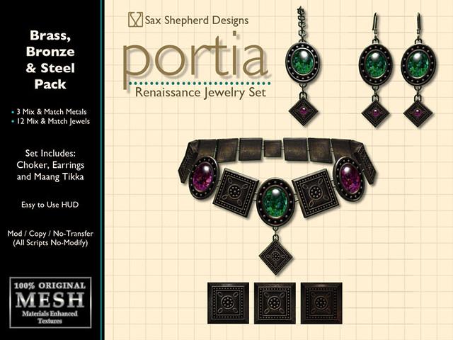 Portia Renaissance Jewelry Set (Brass, Bronze & Steel Pack)