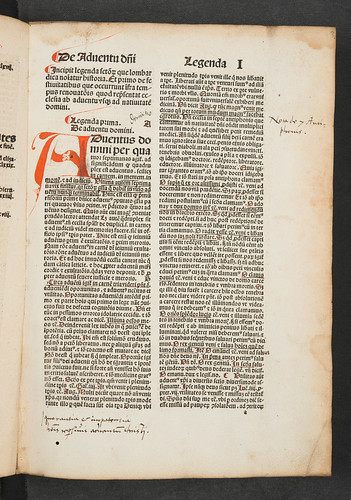 Rubrication and annotations in Jacobus de Voragine: Legenda aurea sanctorum, sive Lombardica historia
