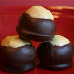 cake(0.0), chocolate truffle(1.0), baked goods(1.0), profiterole(1.0), food(1.0), dessert(1.0), cuisine(1.0),