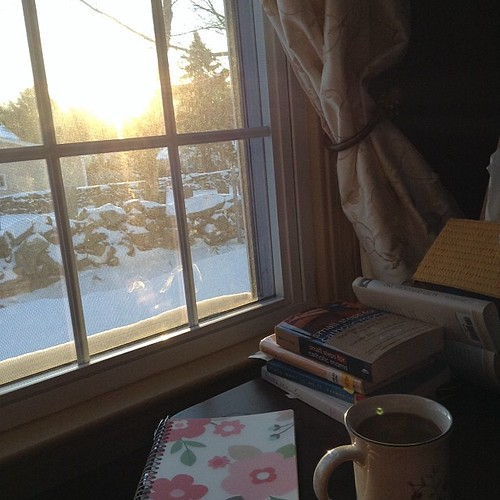 New Habit...with a new baby I am seeing more sunrises with my morning coffee. I've also added in journaling & a little reading before the rest of the house wakes up. It's quickly becoming my favorite part of the day! #writealm #hellomorningcoffee #startin