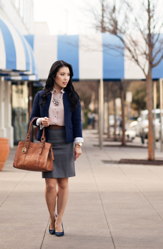 cute & little blog | navy blazer, everlane point collar silk blouse dusk, gray pencil skirt, navy suede pumps, pearl cluster statement necklace outfit