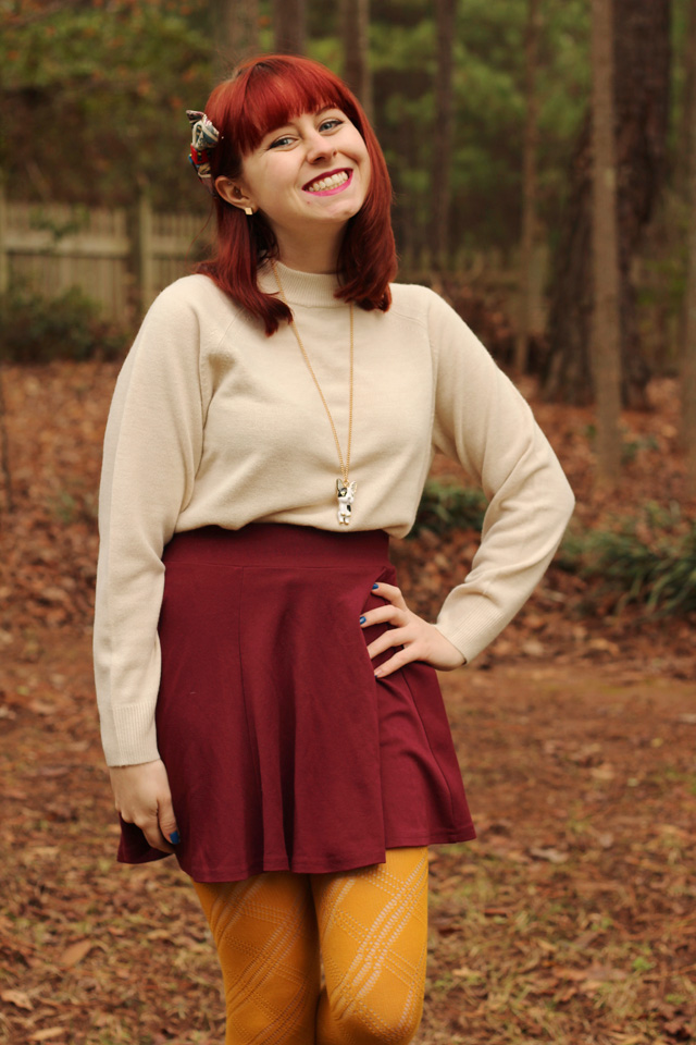 Mock Turtleneck Sweater, Maroon Skater Skirt, Yellow Tights, Boston Terrier Necklace