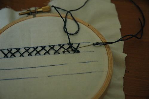 herringbone with feather step 3