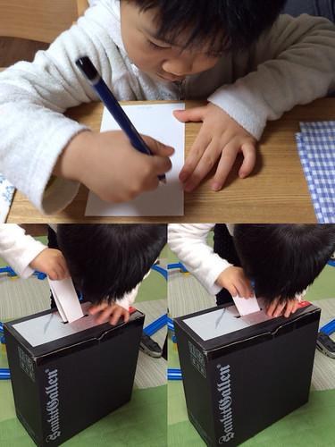 自宅で投票するとらちゃん 2014/2