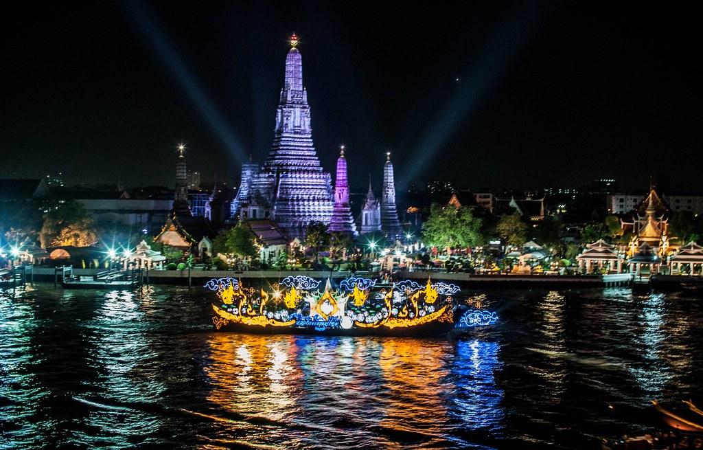 Wat Arun and The Chao Phraya river in Bangkok