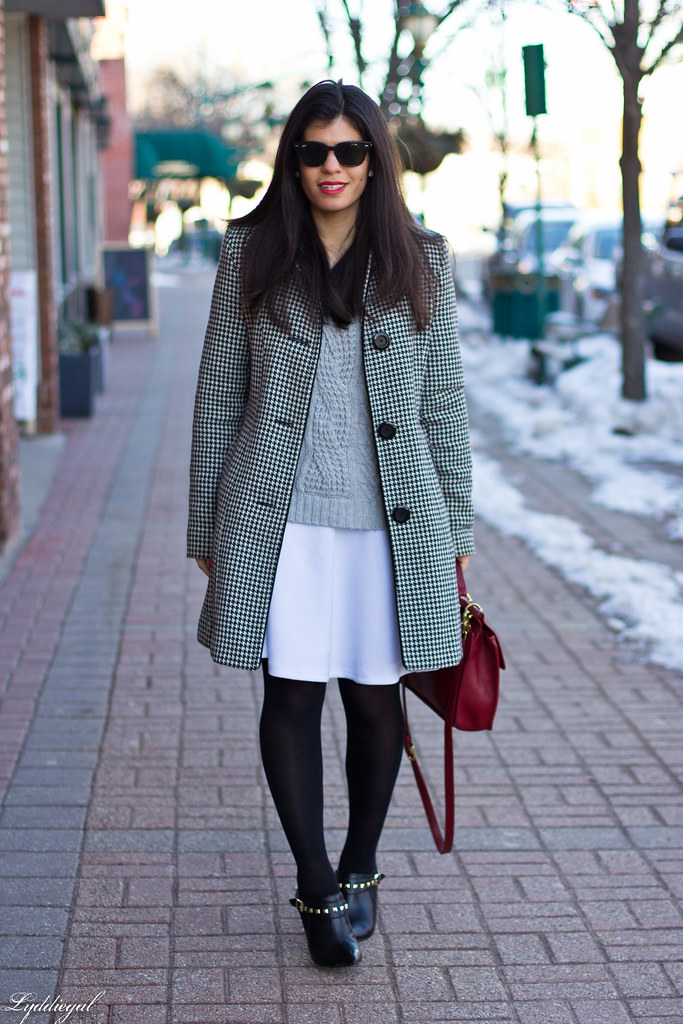 white skirt, grey sweater, red bag.jpg