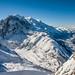 Vue vers la Mer de Glace, la chaine du Mont-Blanc et Chamonix depuis le domaine skiable des Grands-Montets by Jool CHX