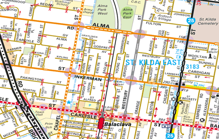 Map of the Balaclava area (from Melway/street-directory.com.au)