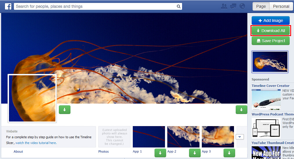 facebook timeline slicer - add image