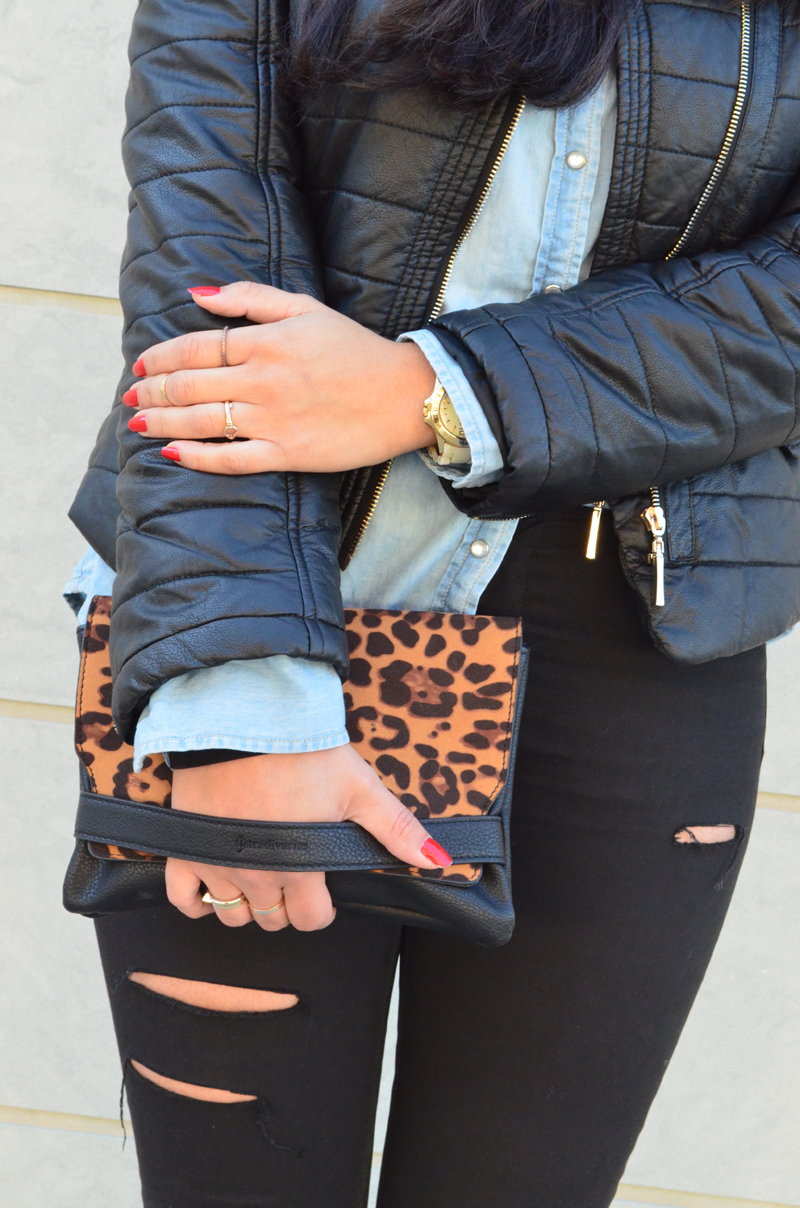 florenciablog look rocker broken jeans inspiration leopard clutch stradivarius how to wear broken jeans (3)