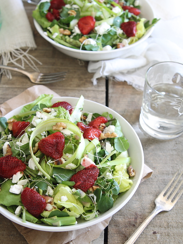 Strawberry and feta salad with watercress and shaved asparagus