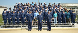 Coast Guard members at Training Center Cape May, N.J., wore their service dress blue uniforms to raise awareness and facilitate discussion about sexual assault in honor of Sexual Assault Awareness Month April 9, 2014. Service Dress Blue Day, as the Coast Guard calls it, is aimed at attracting attention and facilitating discussions about sexual assault prevention awareness. (Coast Guard photo by Chief Warrant Officer Donnie Brzuska)