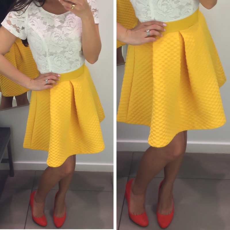 H&M Yellow Sweatshirt Skirt