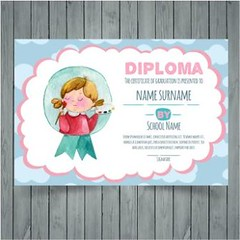 free Vector Preschool Elementary school Kids Diploma certificate