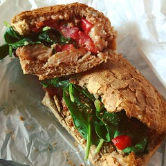 turkey fresco sandwich ~ hand-pulled slow-roasted turkey, fresh spinach, roasted red peppers and basil mayo on multigrain