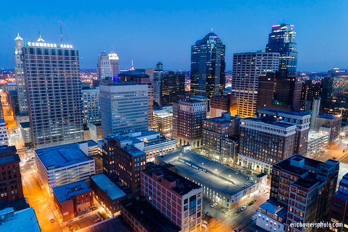 aerial builtstructure cityscape downtown downtowndistrict dronephoto dusk evening highrises horizontal kansascity missouri skyline sunset uavaerial unitedstates us