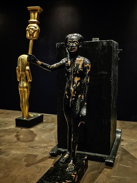 Figure of Tutankhamun as the god Ihi with sistrum New Kingdom 18th Dynasty Egypt 1332-1323 BCE