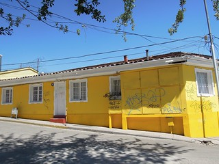 Chile (Santiago) Yellow painted house